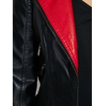 best Faux Leather Color Block Biker Jacket