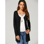 cheap Open Front Pocket Collarless Cardigan