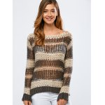 Color Block Hollow Out Crochet Chunky Sweater