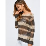 Color Block Hollow Out Crochet Chunky Sweater deal