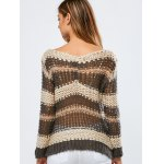 Color Block Hollow Out Crochet Chunky Sweater for sale