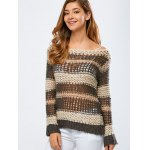 cheap Color Block Hollow Out Crochet Chunky Sweater