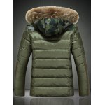 cheap Detachable Faux Fur Collar Hooded Camouflage Zip-Up Down Jacket