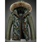 Detachable Faux Fur Collar Hooded Camouflage Zip-Up Down Jacket