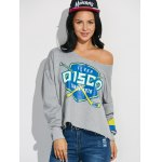 cheap Graphic Print Frayed Pullover Sweatshirt