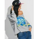Graphic Print Frayed Pullover Sweatshirt deal