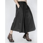 cheap Drawstring Pleated Front Wide Leg Pants