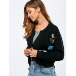 cheap Open Front Sequins Embellished Crop Cardigan