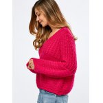cheap Balloon Sleeve Crochet Chunky Sweater