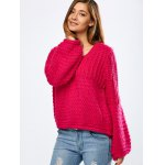 Balloon Sleeve Crochet Chunky Sweater deal