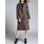 cheap Floral Lapel Longline Coat