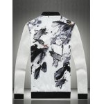 Stand Collar Insect Wash Painting Print Zip-Up Jacket deal