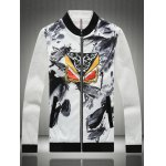 cheap Stand Collar Insect Wash Painting Print Zip-Up Jacket