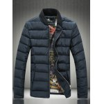 Rib Spliced Stand Collar Padded Jacket