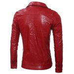 cheap Multi Pocket Zippered Faux Leather Jacket