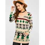cheap Crew Neck Geometric Pullover Knit Sweater