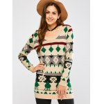 Crew Neck Geometric Pullover Knit Sweater deal