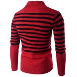 cheap Half Zip Up Stand Collar Striped Sweater