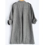cheap Rolled Cuff Sleeve Plus Size Coat