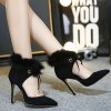 Furry Stiletto Heel Pointed Toe Pumps deal