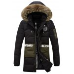 Letter and Badge Print Faux Fur Collar Zipper Fly Padded Coat