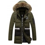 cheap Letter and Badge Print Faux Fur Collar Zipper Fly Padded Coat