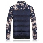 cheap Stand Collar Florals Print Splicing Zip-Up Padded Jacket