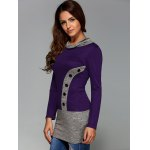 cheap Buttoned Heathered Spliced Blouse