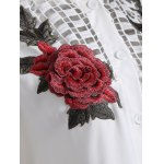 best Openwork Rose Embroidery Blouse