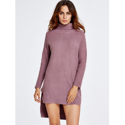 High Low Turtleneck Sweater Dress