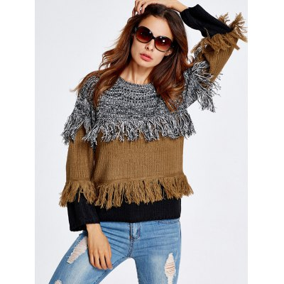 Color Block Fringe  SweaterSweaters &amp; Cardigans<br>Color Block Fringe  Sweater<br><br>Type: Pullovers<br>Material: Cotton,Polyester<br>Sleeve Length: Full<br>Collar: Round Neck<br>Style: Fashion<br>Pattern Type: Patchwork<br>Season: Fall,Spring,Winter<br>Elasticity: Elastic<br>Weight: 0.570kg<br>Package Contents: 1 x Sweater