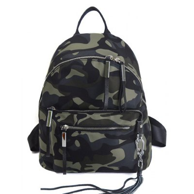 Splicing Camouflage Pattern Tassels Backpack