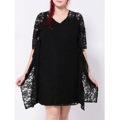 Batwing Sleeves Lace Splicing Dress
