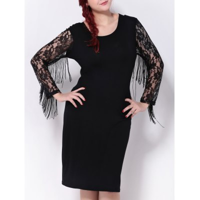 Fringed Lace Spliced Sheath Dress
