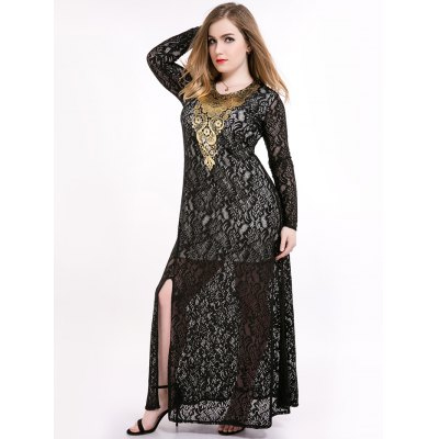 Floral Embroidery High Slit Lace Sheer Full Sleeves Maxi Prom Dress