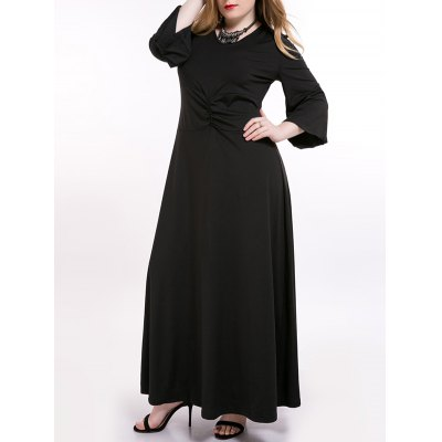 Ruched Flare Sleeve Maxi Dress