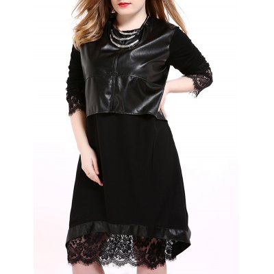 Leather Paneled Lace Asymmetric Dress