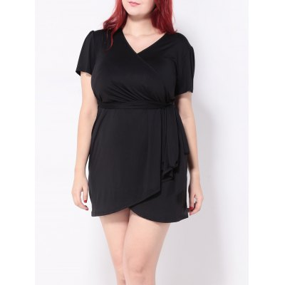 Plus Size Tied Belt Mini Wrap Dress