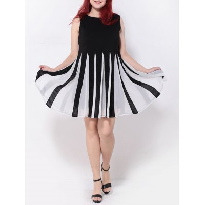 Pleated Patchwork Swing Dress