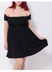 Off the Shoulder Pleated Empire Waist Cocktail Dress