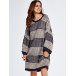 cheap Stripe Thick Winter Casual Jumper Dress