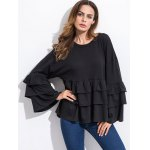 cheap Long Sleeve Tiered Blouse
