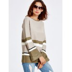 cheap Color Block Stripe Bell Sleeve Sweater