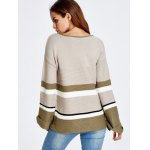 Color Block Stripe Bell Sleeve Sweater for sale