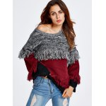cheap Color Block Fringe  Sweater