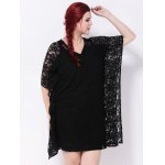 Batwing Sleeves Lace Splicing Dress deal
