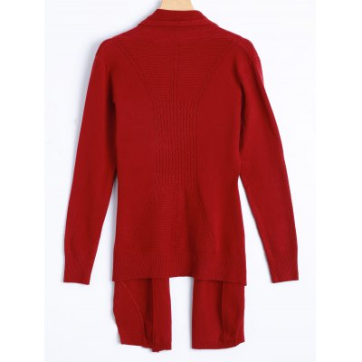 Asymmetric Hem Knit CardiganSweaters &amp; Cardigans<br>Asymmetric Hem Knit Cardigan<br><br>Type: Cardigans<br>Material: Polyester<br>Sleeve Length: Three Quarter<br>Collar: Tailored Collar<br>Style: Casual<br>Pattern Type: Solid<br>Season: Fall<br>Weight: 0.297kg<br>Package Contents: 1 x Cardigan
