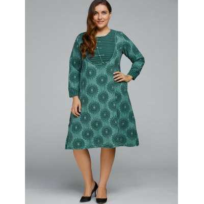Sunflowers Jacquard Dress With Chinese Buttons