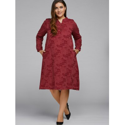 Lotus Pond Jacquard Dress With Chinese Buttons