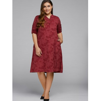 lotus-pond-jacquard-dress-with-chinese-buttons